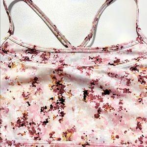 GAPFit White BOLD Pink Flowers Sports Bra Sz LG